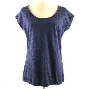 Cyrus Navy Ladder Lace Linen Blend Top